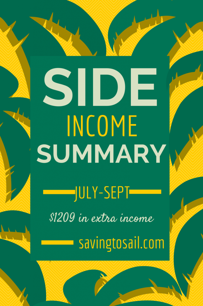 Side Income Summary - July thru Sept 2014