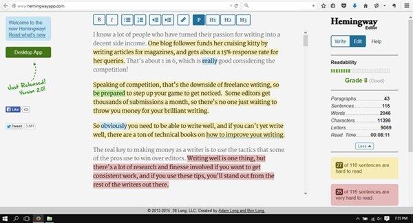 Hemingway Editor writing app