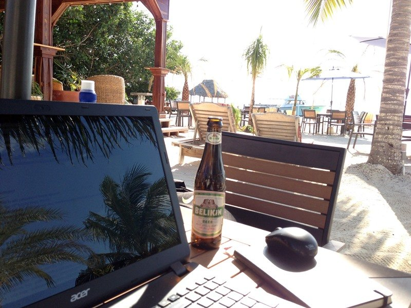 Working remotely from the beach in Belize