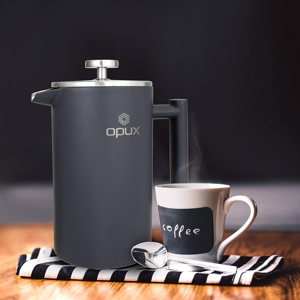 Gift guide for sailors - opux stainless, double-walled french press coffee press
