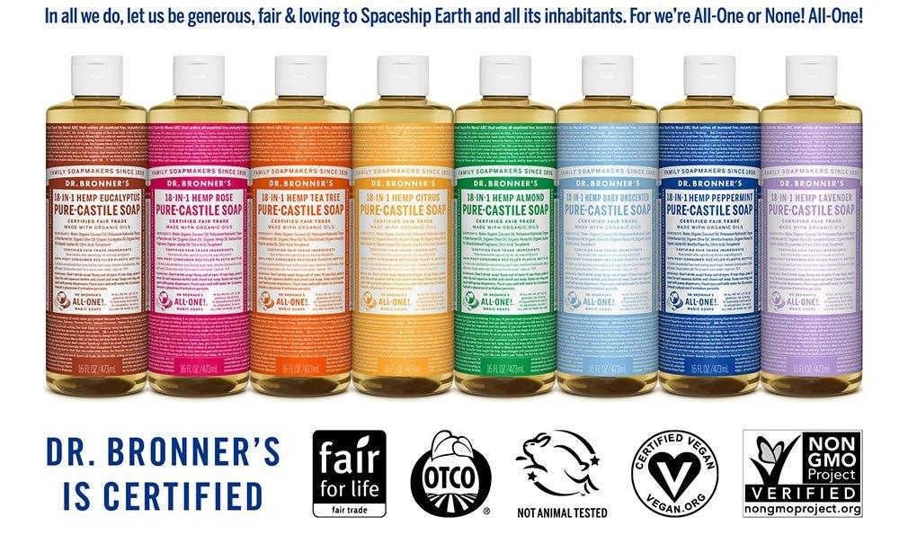 Dr. Bronner's eco-friendly pure castile soap.